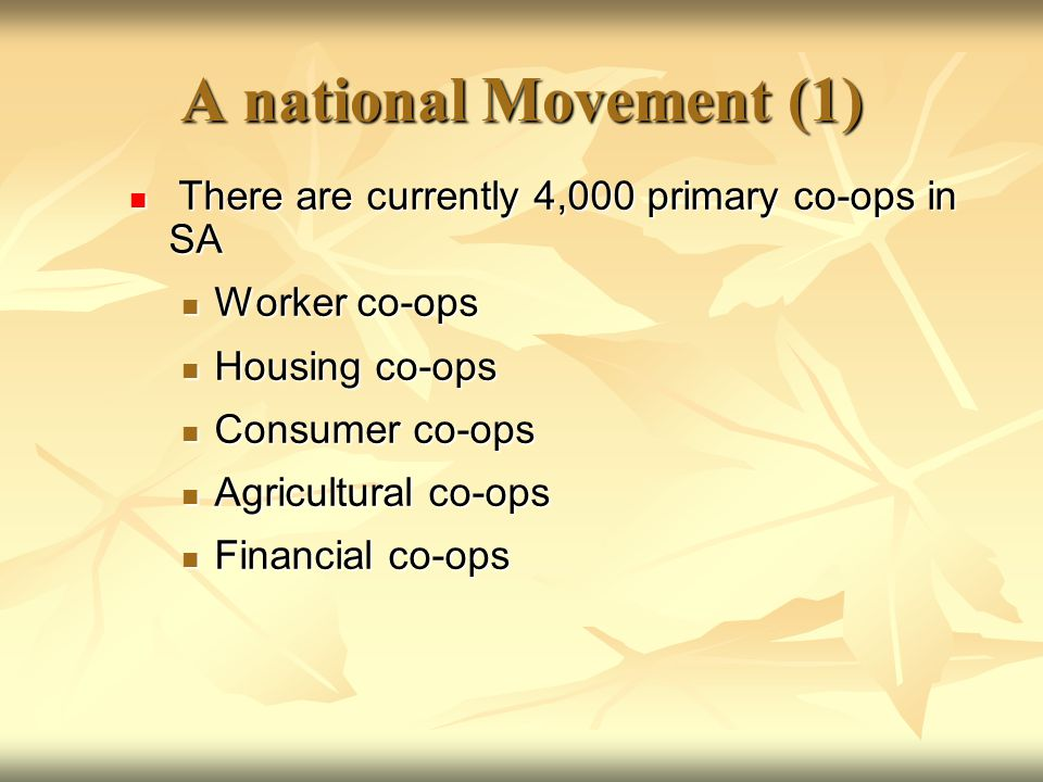 A national Movement (1) There are currently 4,000 primary co-ops in SA There are currently 4,000 primary co-ops in SA Worker co-ops Worker co-ops Housing co-ops Housing co-ops Consumer co-ops Consumer co-ops Agricultural co-ops Agricultural co-ops Financial co-ops Financial co-ops