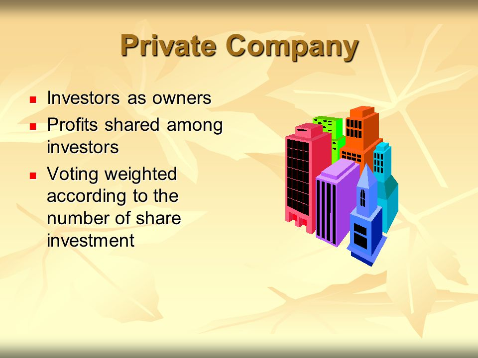 Private Company Investors as owners Investors as owners Profits shared among investors Profits shared among investors Voting weighted according to the number of share investment Voting weighted according to the number of share investment