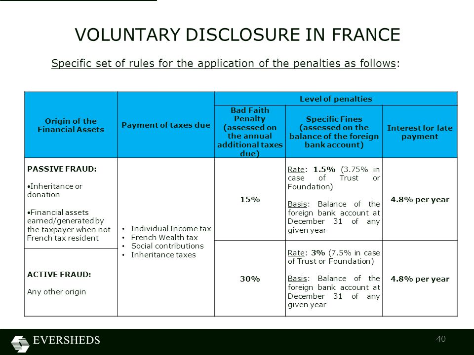 VOLUNTARY DISCLOSURE IN FRANCE 40 Specific set of rules for the application of the penalties as follows: Origin of the Financial Assets Payment of taxes due Level of penalties Bad Faith Penalty (assessed on the annual additional taxes due) Specific Fines (assessed on the balance of the foreign bank account) Interest for late payment PASSIVE FRAUD: Inheritance or donation Financial assets earned/generated by the taxpayer when not French tax resident Individual Income tax French Wealth tax Social contributions Inheritance taxes 15% Rate: 1.5% (3.75% in case of Trust or Foundation) Basis: Balance of the foreign bank account at December 31 of any given year 4.8% per year 30% Rate: 3% (7.5% in case of Trust or Foundation) Basis: Balance of the foreign bank account at December 31 of any given year 4.8% per year ACTIVE FRAUD: Any other origin