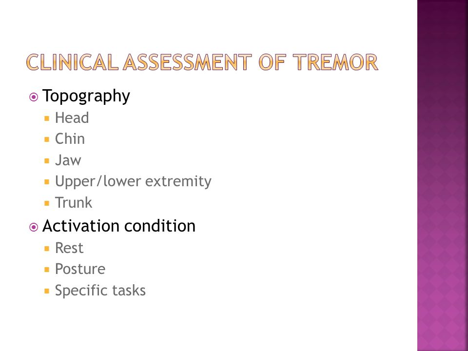  Topography  Head  Chin  Jaw  Upper/lower extremity  Trunk  Activation condition  Rest  Posture  Specific tasks