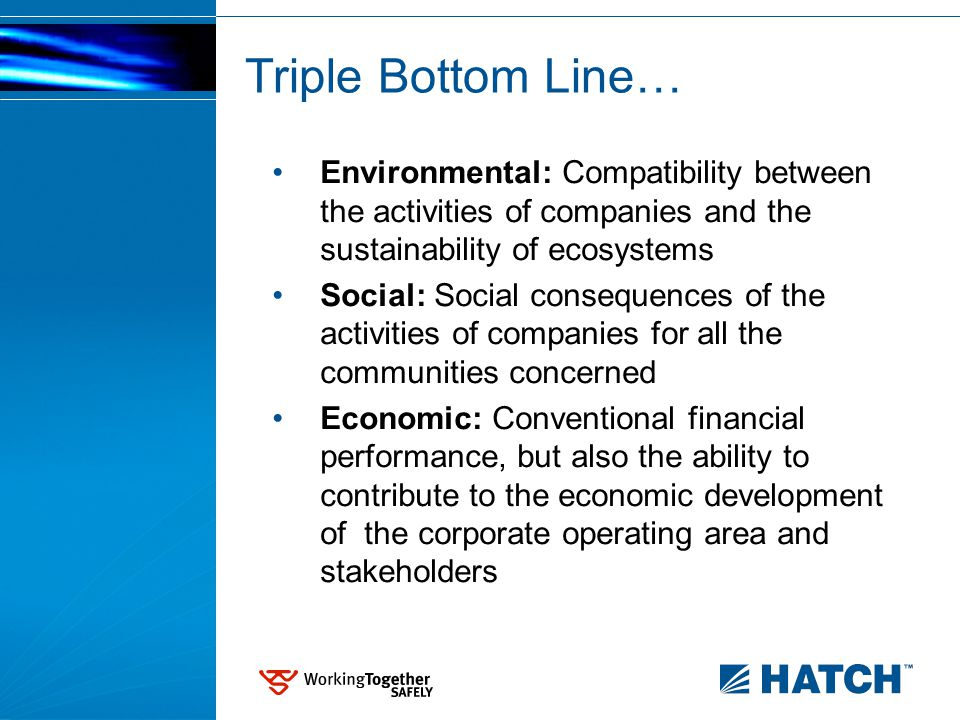 Triple Bottom Line… Environmental: Compatibility between the activities of companies and the sustainability of ecosystems Social: Social consequences of the activities of companies for all the communities concerned Economic: Conventional financial performance, but also the ability to contribute to the economic development of the corporate operating area and stakeholders
