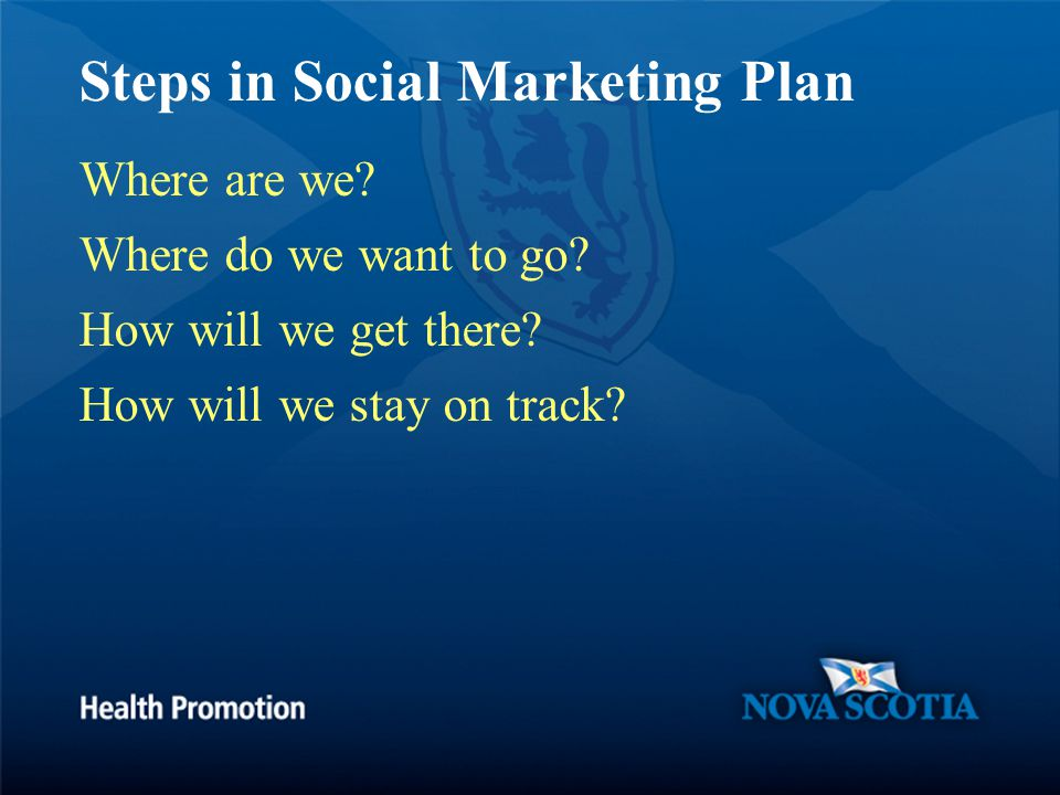 Steps in Social Marketing Plan Where are we. Where do we want to go.