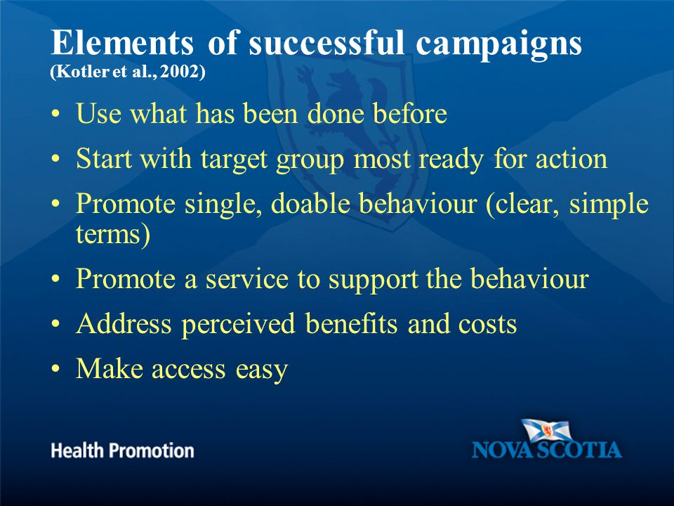 Elements of successful campaigns (Kotler et al., 2002) Use what has been done before Start with target group most ready for action Promote single, doable behaviour (clear, simple terms) Promote a service to support the behaviour Address perceived benefits and costs Make access easy