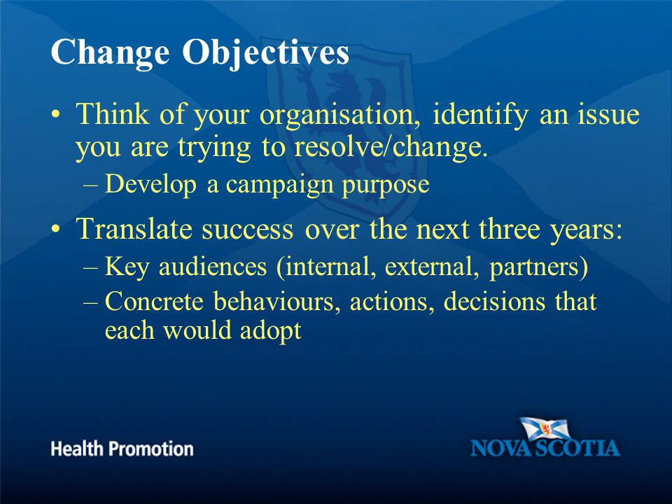 Change Objectives Think of your organisation, identify an issue you are trying to resolve/change.