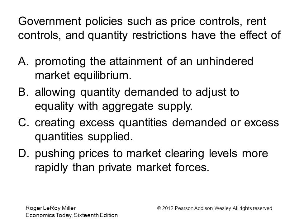 Roger LeRoy Miller © 2012 Pearson Addison-Wesley. All rights reserved. Economics Today, Sixteenth Edition Government policies such as price controls,