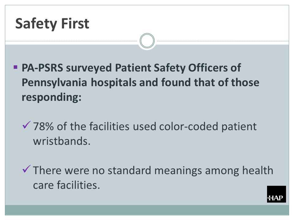 Safety First  PA-PSRS surveyed Patient Safety Officers of Pennsylvania hospitals and found that of those responding: 78% of the facilities used color