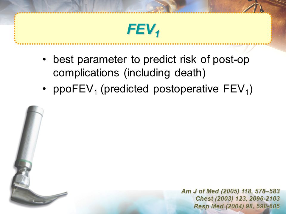FEV 1 best parameter to predict risk of post-op complications (including death) ppoFEV 1 (predicted postoperative FEV 1 ) Am J of Med (2005) 118, 578–