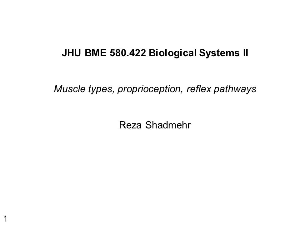 1 JHU BME 580.422 Biological Systems II Muscle types, proprioception, reflex pathways Reza Shadmehr