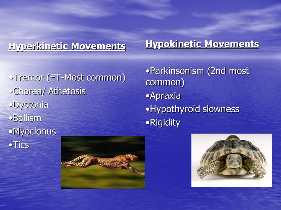 Hyperkinetic Movements Tremor (ET-Most common) Tremor (ET-Most common) Chorea/ Athetosis DystoniaBallismMyoclonusTics Hypokinetic Movements Parkinsoni