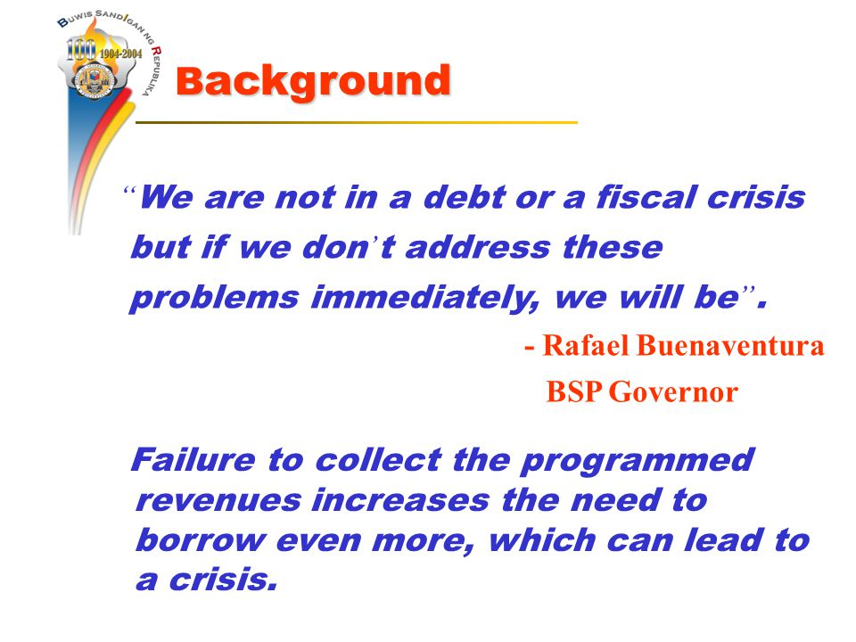We are not in a debt or a fiscal crisis but if we don ' t address these problems immediately, we will be .