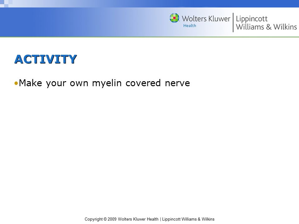 Copyright © 2009 Wolters Kluwer Health | Lippincott Williams & Wilkins ACTIVITY Make your own myelin covered nerve