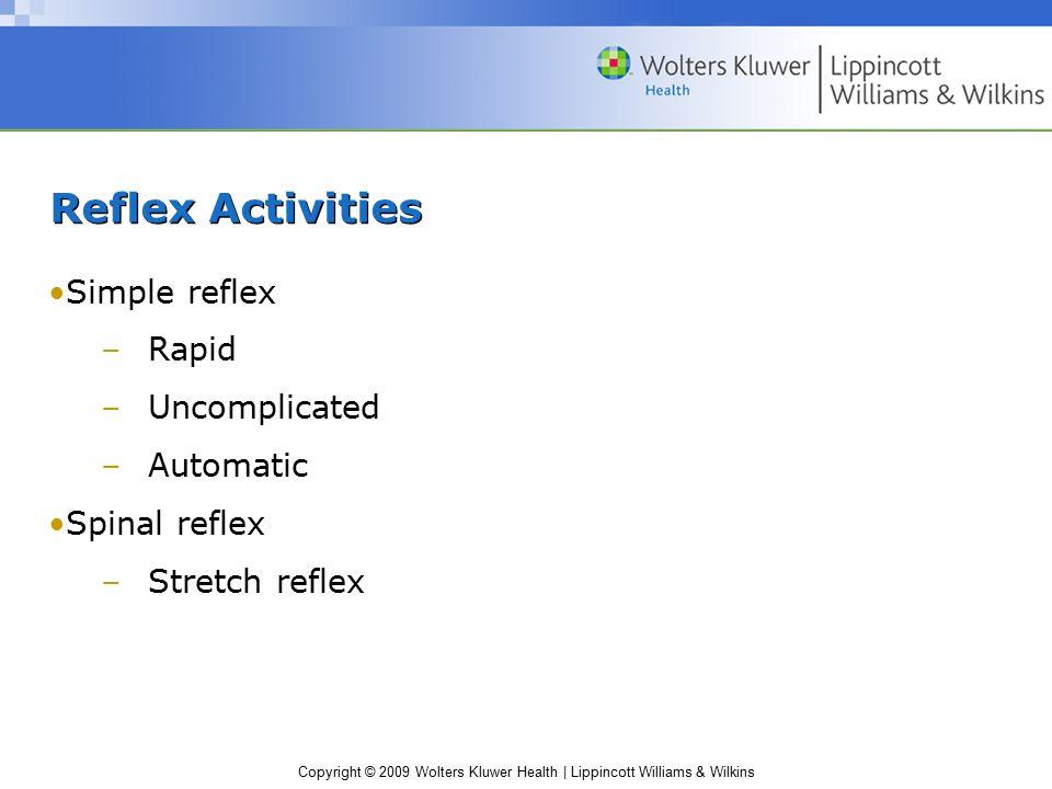 Copyright © 2009 Wolters Kluwer Health | Lippincott Williams & Wilkins Reflex Activities Simple reflex –Rapid –Uncomplicated –Automatic Spinal reflex –Stretch reflex