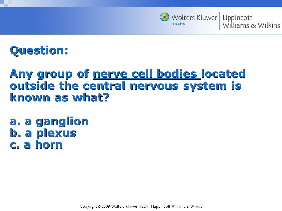 Copyright © 2009 Wolters Kluwer Health | Lippincott Williams & Wilkins Question: Any group of nerve cell bodies located outside the central nervous system is known as what.