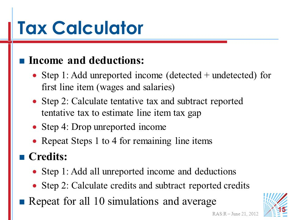RAS:R – June 21, 2012 15 Tax Calculator  Income and deductions:  Step 1: Add unreported income (detected + undetected) for first line item (wages and salaries)  Step 2: Calculate tentative tax and subtract reported tentative tax to estimate line item tax gap  Step 4: Drop unreported income  Repeat Steps 1 to 4 for remaining line items  Credits:  Step 1: Add all unreported income and deductions  Step 2: Calculate credits and subtract reported credits  Repeat for all 10 simulations and average