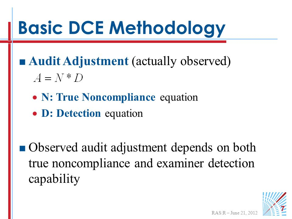 RAS:R – June 21, 2012 7 Basic DCE Methodology  Audit Adjustment (actually observed)  N: True Noncompliance equation  D: Detection equation  Observed audit adjustment depends on both true noncompliance and examiner detection capability