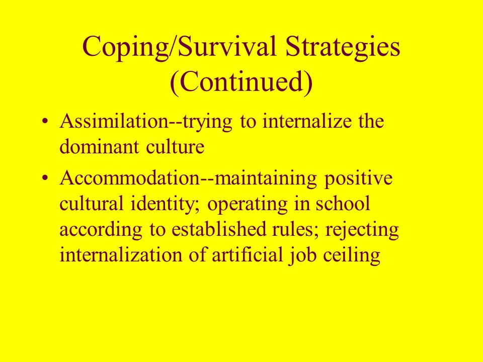 Coping/Survival Strategies- Secondary Cultural Differences Collective Struggle (civil rights movement and culture of resistance – see Public Enemy) (This will help you understand the lyrics of Fight the Power – What Happened in Tianamen Square in 1989)Public Enemy Happened in Tianamen Square Clientship--manipulative interactions; go along to get along; passive resistance Alienation--creation of a Black Culture which is defined by its opposition to everything espoused by the dominant culture –Norms against acting White –Acceptance of illegal, alternative economy for status mobility.