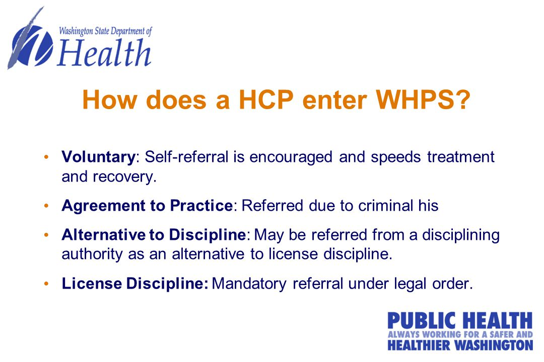 How does a HCP enter WHPS.