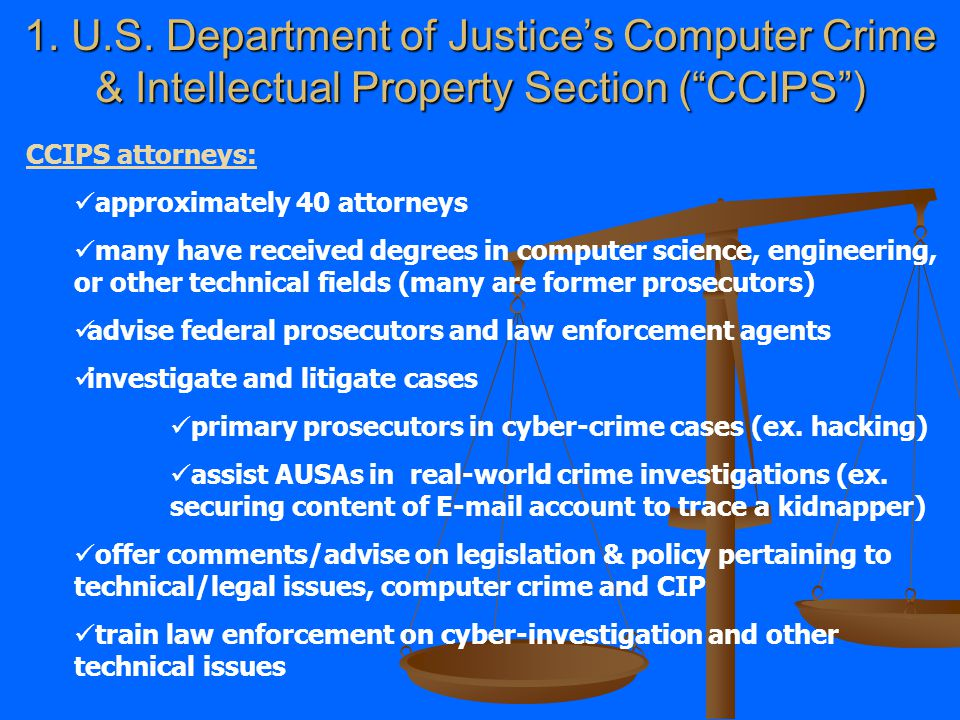 Today's goals: 1. An introduction to DOJ's Computer Crime & Intellectual Property Section 2. Incident Response – Monitoring Communications and Traffic