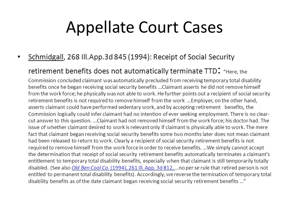 Appellate Court Cases City of Granite City, 279 Ill.App.3d 1087 (1996): Petitioner police officer is not entitled to TTD after removing himself from light-duty in order to collect a disability pension : The duration of TTD is controlled by the claimant s ability to work and his continuation in the healing process.