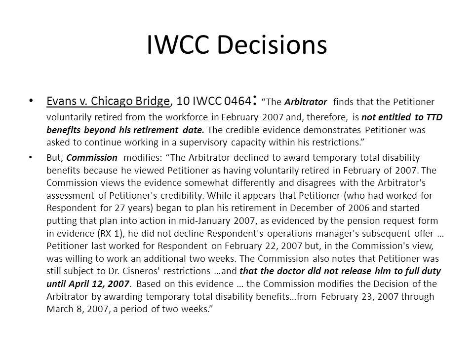 IWCC Decisions Evans v.