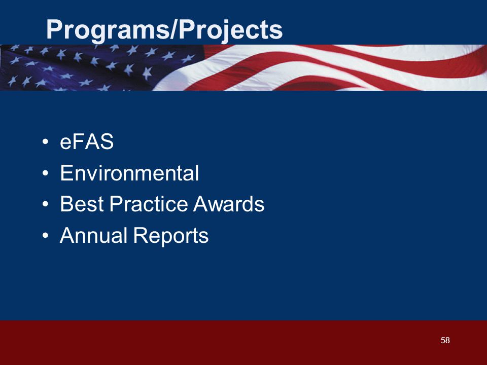 58 Programs/Projects eFAS Environmental Best Practice Awards Annual Reports