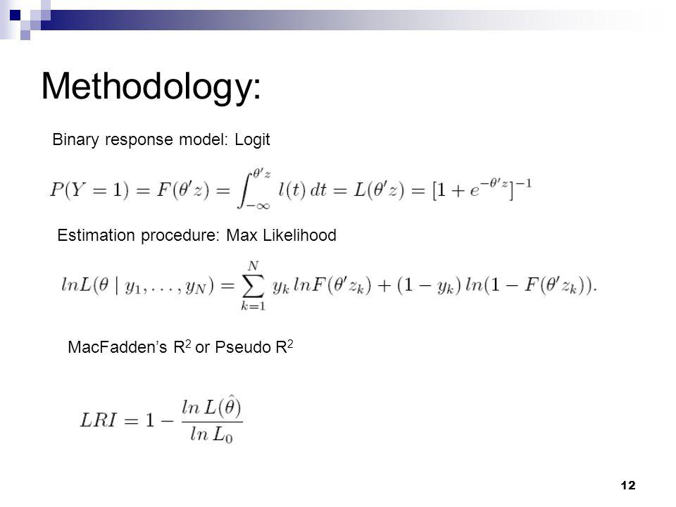 12 Methodology: Binary response model: Logit Estimation procedure: Max Likelihood MacFadden's R 2 or Pseudo R 2