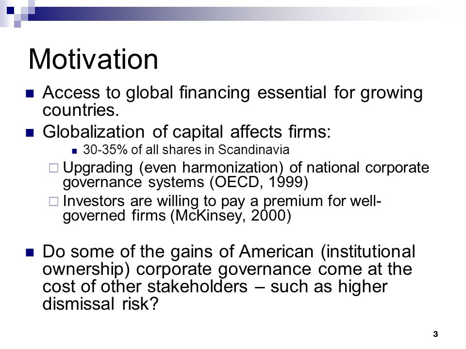 14 Main findings American cross-listing does not increase performance contingent dismissal risk in European firms  Does not alter dismissal behavior – too weak of a mechanism American board membership increase performance contingent dismissal risk in European firms  Corporate governance of boards is affected by nationality of board members – affects behavior Limitations & weaknesses  Confounding effects – are European firms with American influence different than other firms  We still don't know if there are to few or too many dismissals