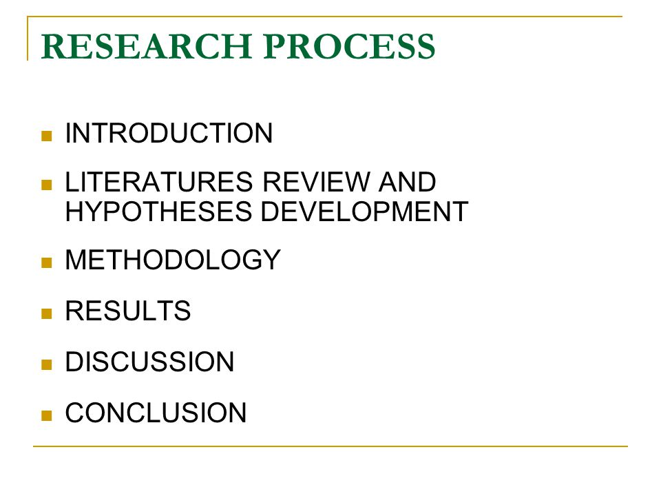 RESEARCH PROCESS INTRODUCTION LITERATURES REVIEW AND HYPOTHESES DEVELOPMENT METHODOLOGY RESULTS DISCUSSION CONCLUSION