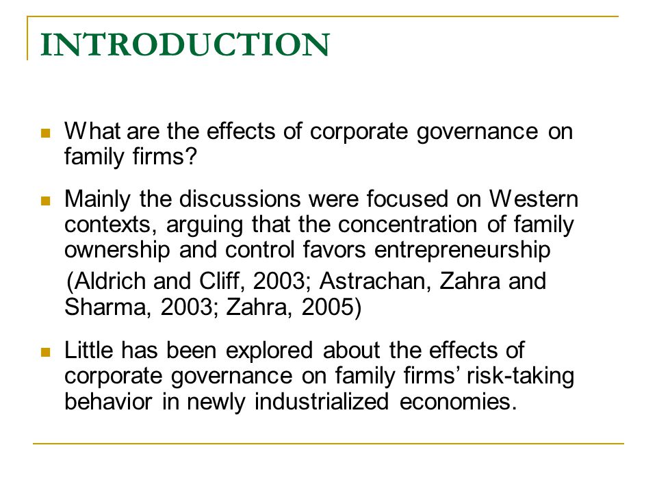 CONTRIBUTIONS Third  Family firms with high ownership involvement are less risk-taking based on the sample of Taiwanese listed firms in the ICT industries  family firms voluntarily introduce outside directors, their inclination to risk-taking changes from avoidance to preference.