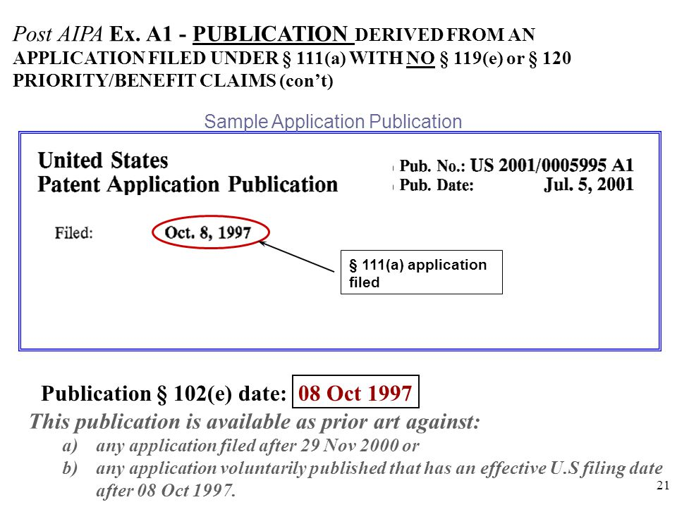 21 § 111(a) application filed Post AIPA Ex.