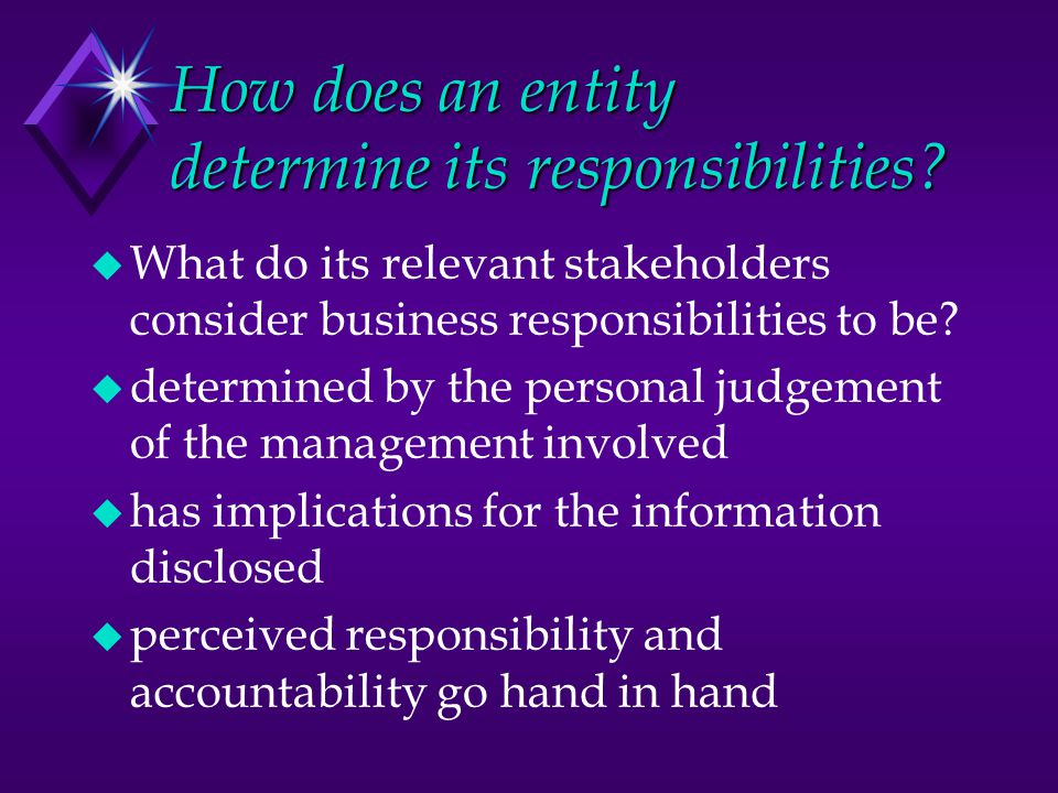 How does an entity determine its responsibilities.