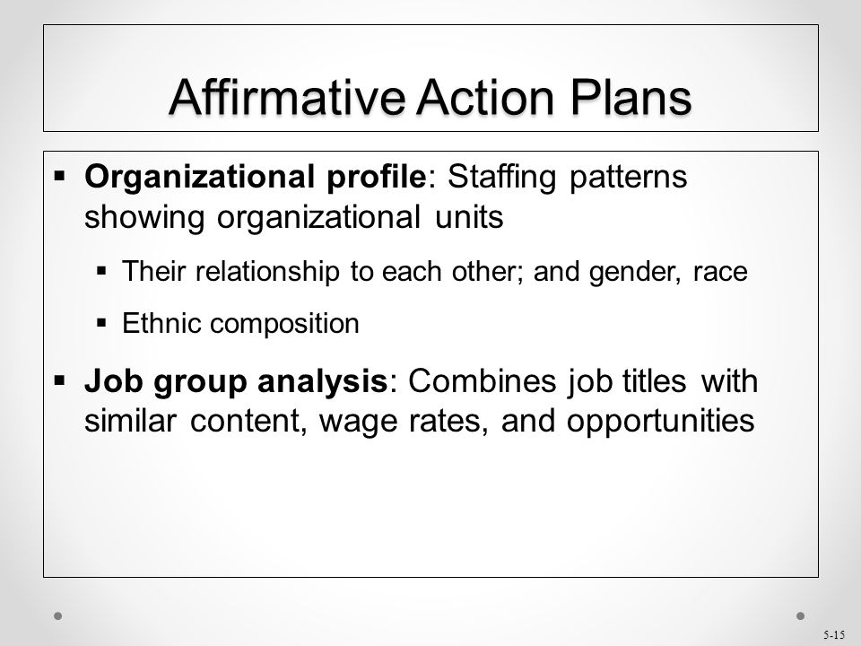 5-15 Affirmative Action Plans  Organizational profile: Staffing patterns showing organizational units  Their relationship to each other; and gender,