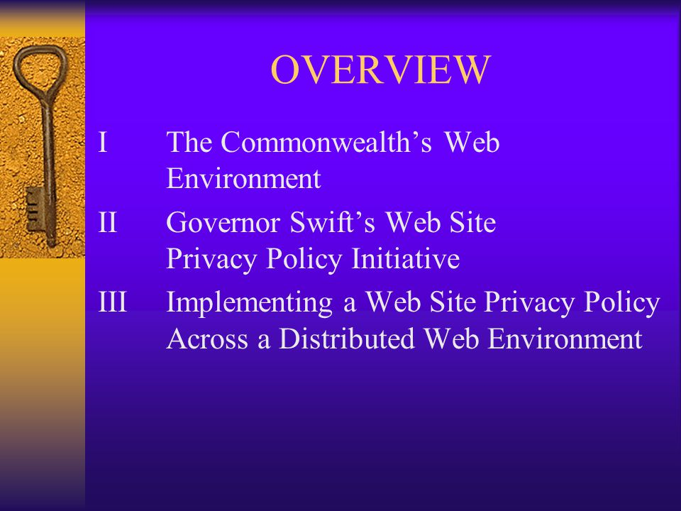 OVERVIEW IThe Commonwealth's Web Environment IIGovernor Swift's Web Site Privacy Policy Initiative IIIImplementing a Web Site Privacy Policy Across a Distributed Web Environment