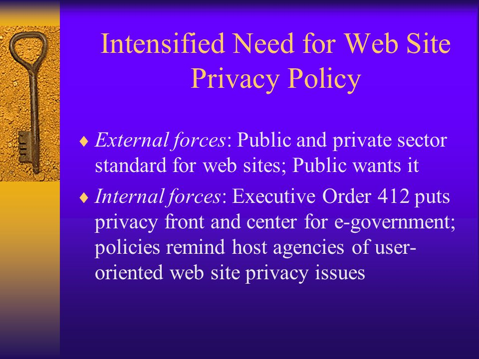 Intensified Need for Web Site Privacy Policy  External forces: Public and private sector standard for web sites; Public wants it  Internal forces: Executive Order 412 puts privacy front and center for e-government; policies remind host agencies of user- oriented web site privacy issues