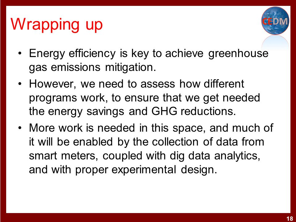 Wrapping up Energy efficiency is key to achieve greenhouse gas emissions mitigation.