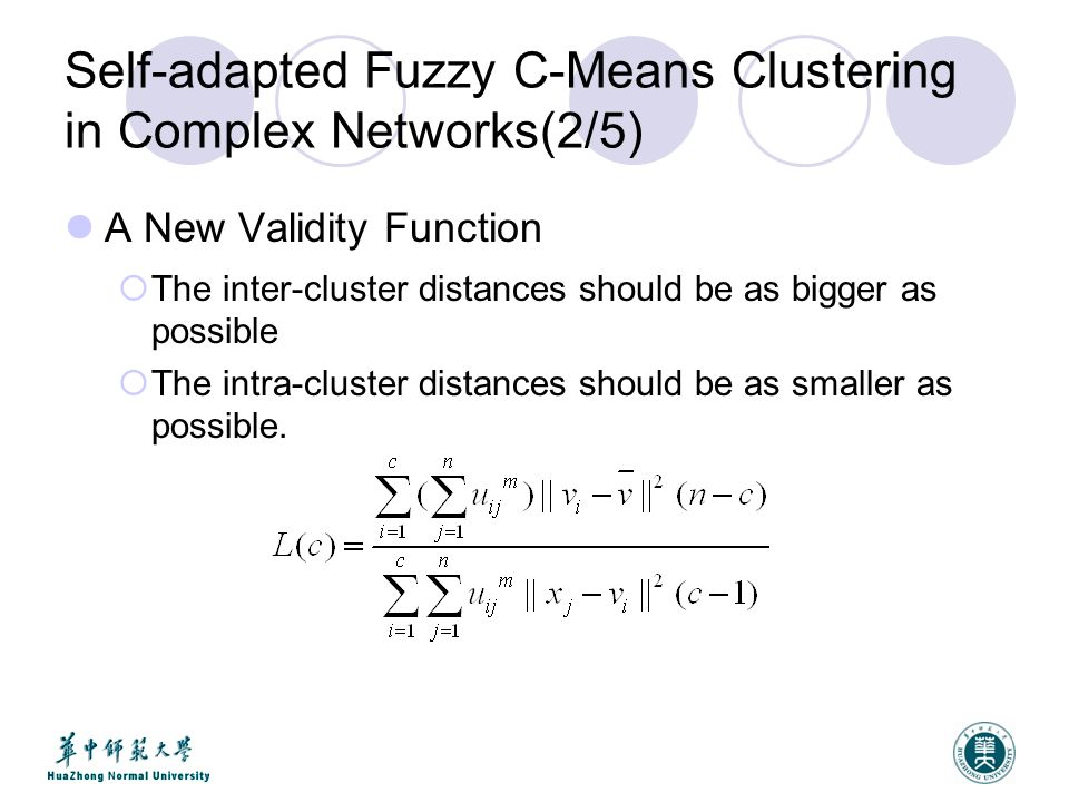 Self-adapted Fuzzy C-Means Clustering in Complex Networks(2/5) A New Validity Function  The inter-cluster distances should be as bigger as possible  The intra-cluster distances should be as smaller as possible.
