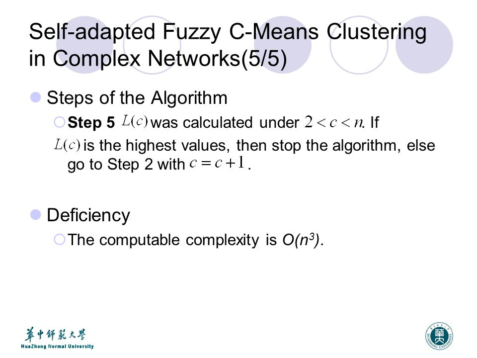 Self-adapted Fuzzy C-Means Clustering in Complex Networks(5/5) Steps of the Algorithm  Step 5 was calculated under.