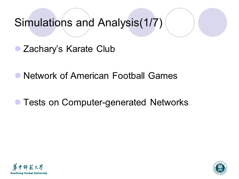 Simulations and Analysis(1/7) Zachary's Karate Club Network of American Football Games Tests on Computer-generated Networks
