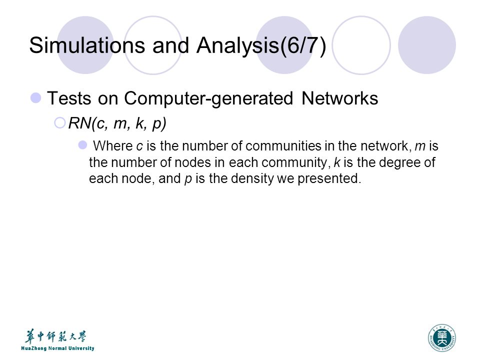 Simulations and Analysis(6/7) Tests on Computer-generated Networks  RN(c, m, k, p) Where c is the number of communities in the network, m is the number of nodes in each community, k is the degree of each node, and p is the density we presented.