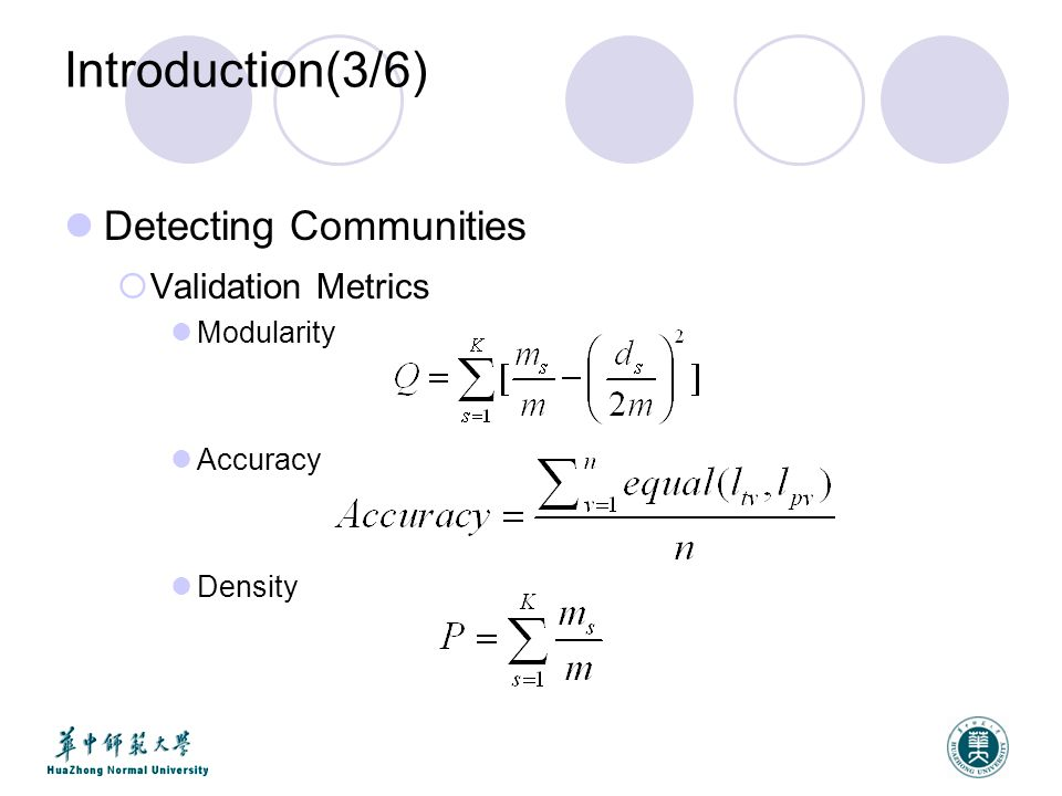 Introduction(3/6) Detecting Communities  Validation Metrics Modularity Accuracy Density