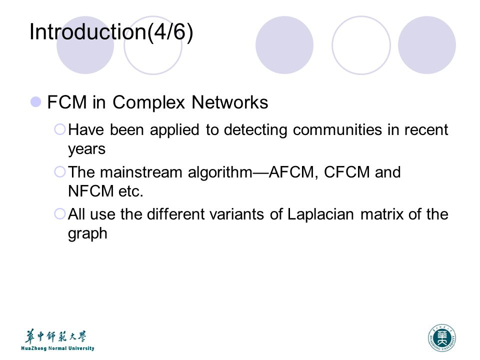 Introduction(5/6) FCM in Complex Networks  Laplacian matrix (N=D-A) is used in AFCM  N=D -1 A is used in CFCM, and N=D -1/2 (D-A) D -1/2 is used in NFCM.