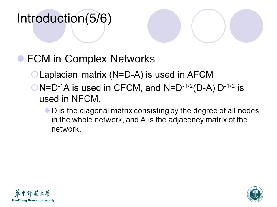 Introduction(5/6) FCM in Complex Networks  Laplacian matrix (N=D-A) is used in AFCM  N=D -1 A is used in CFCM, and N=D -1/2 (D-A) D -1/2 is used in NFCM.