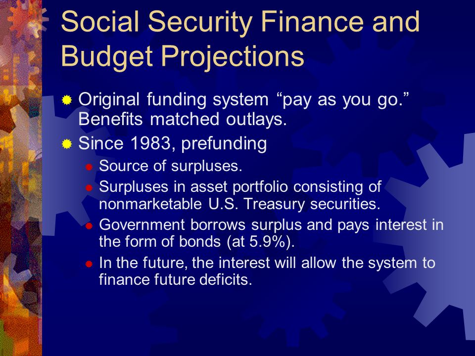 "Social Security Finance and Budget Projections  Original funding system ""pay as you go."" Benefits matched outlays.  Since 1983, prefunding  Source"