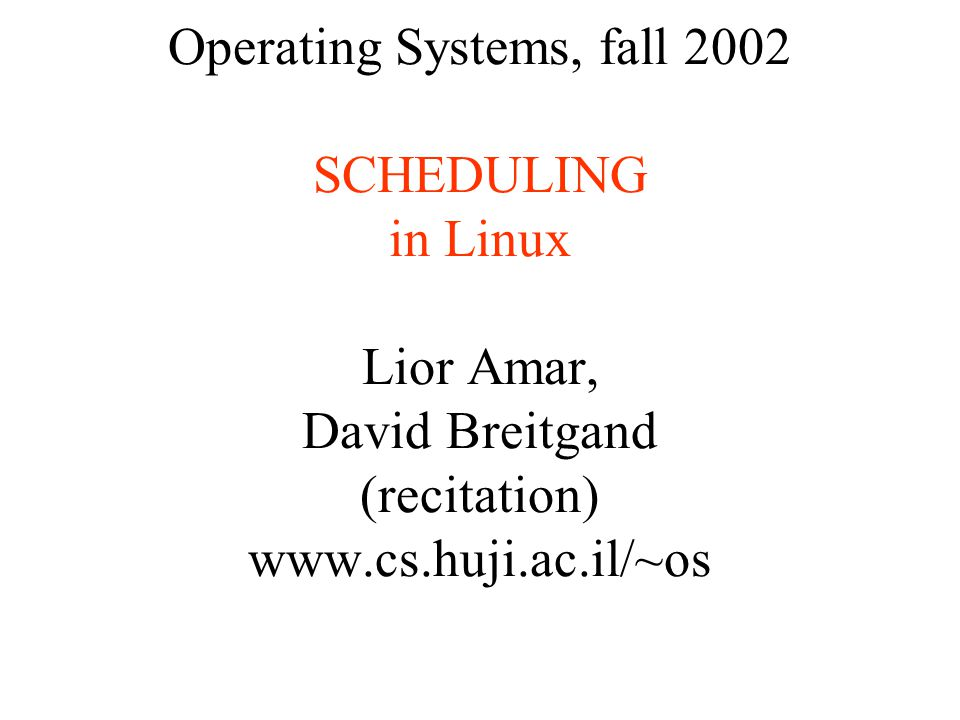 Scheduling in Unix The scheduling algorithm must fulfill several conflicting objectives: –fast process response time; –good throughput for background jobs; –avoidance of process starvation; –Preferential treatment of low- and high-priority processes.