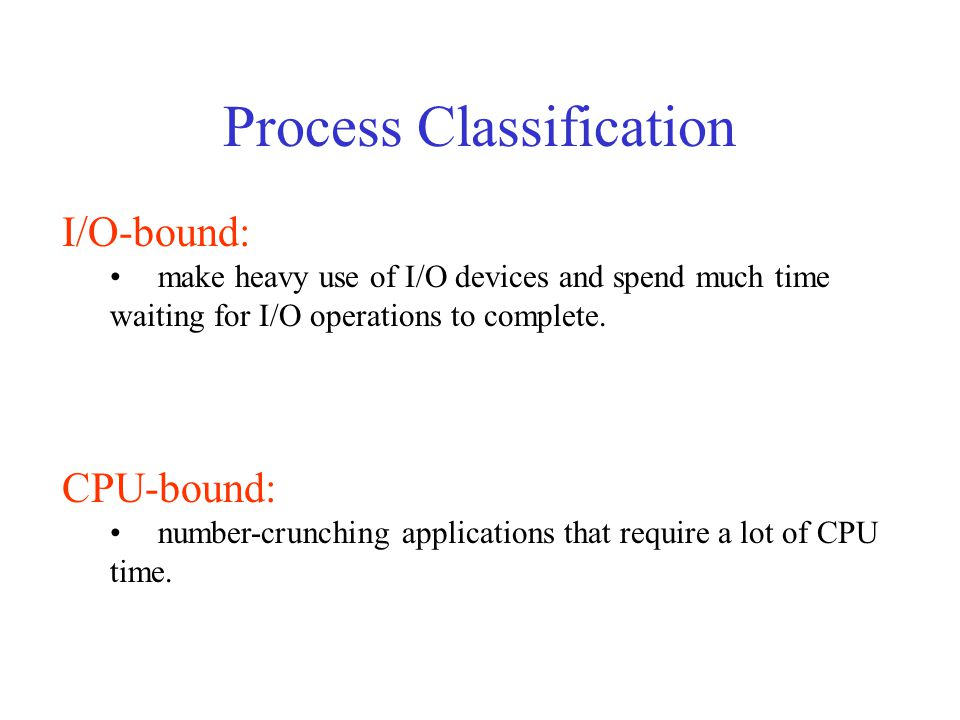 Process Classification I/O-bound: make heavy use of I/O devices and spend much time waiting for I/O operations to complete.