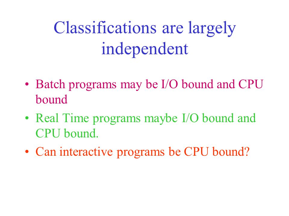 Classifications are largely independent Batch programs may be I/O bound and CPU bound Real Time programs maybe I/O bound and CPU bound.