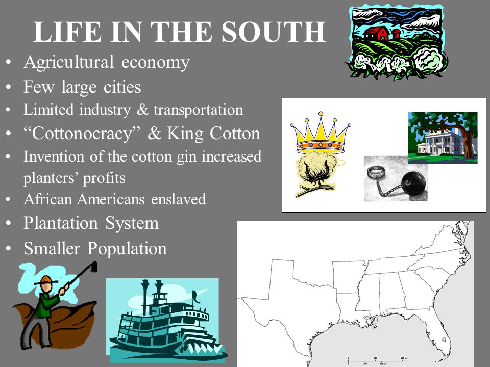 LIFE IN THE SOUTH Agricultural economy Few large cities Limited industry & transportation Cottonocracy & King Cotton Invention of the cotton gin increased planters' profits African Americans enslaved Plantation System Smaller Population