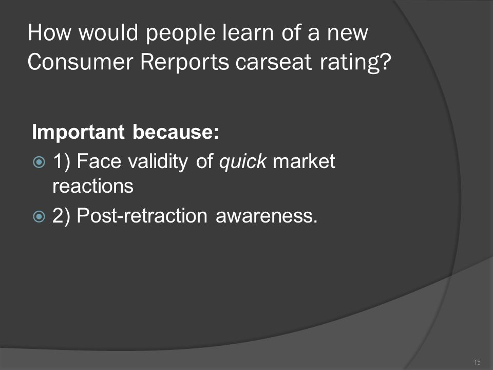 How would people learn of a new Consumer Rerports carseat rating.