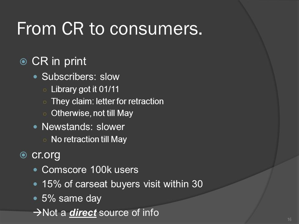 From CR to consumers.