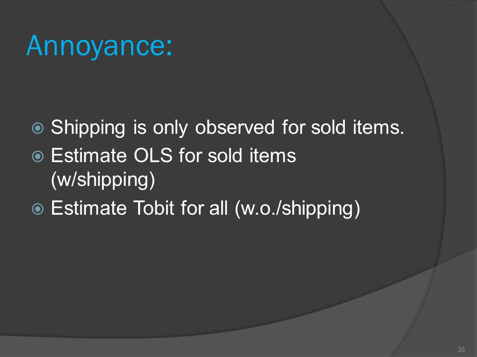 Annoyance:  Shipping is only observed for sold items.